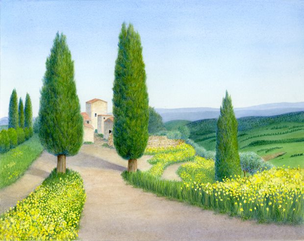 Spring Fever (Montepulciano, Italy). Springtime explosion of color around an old convent house just outside the medieval walls of Montepulciano, Italy. Watercolor on Arches
