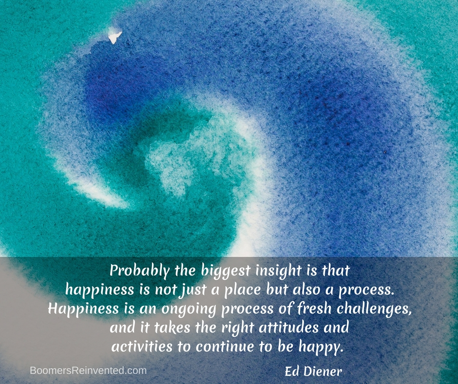 Probably the biggest insight is that happiness is not just a place but also a process. Happiness is an ongoing process of fresh challenges, and it takes the right attitudes and activities to continue to be happy. – Ed Diener